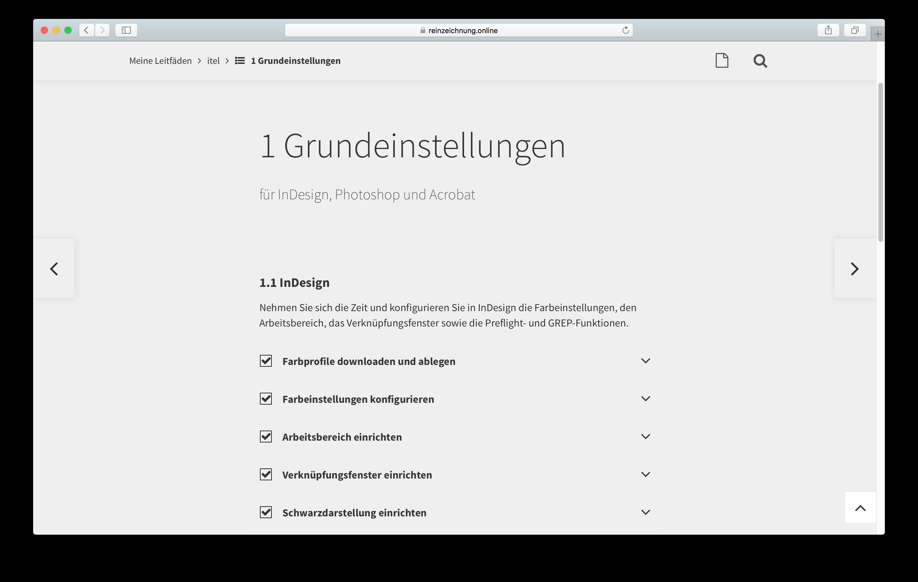 Reinzeichnung Druckvorstufe InDesign Online Grundeinstellungen