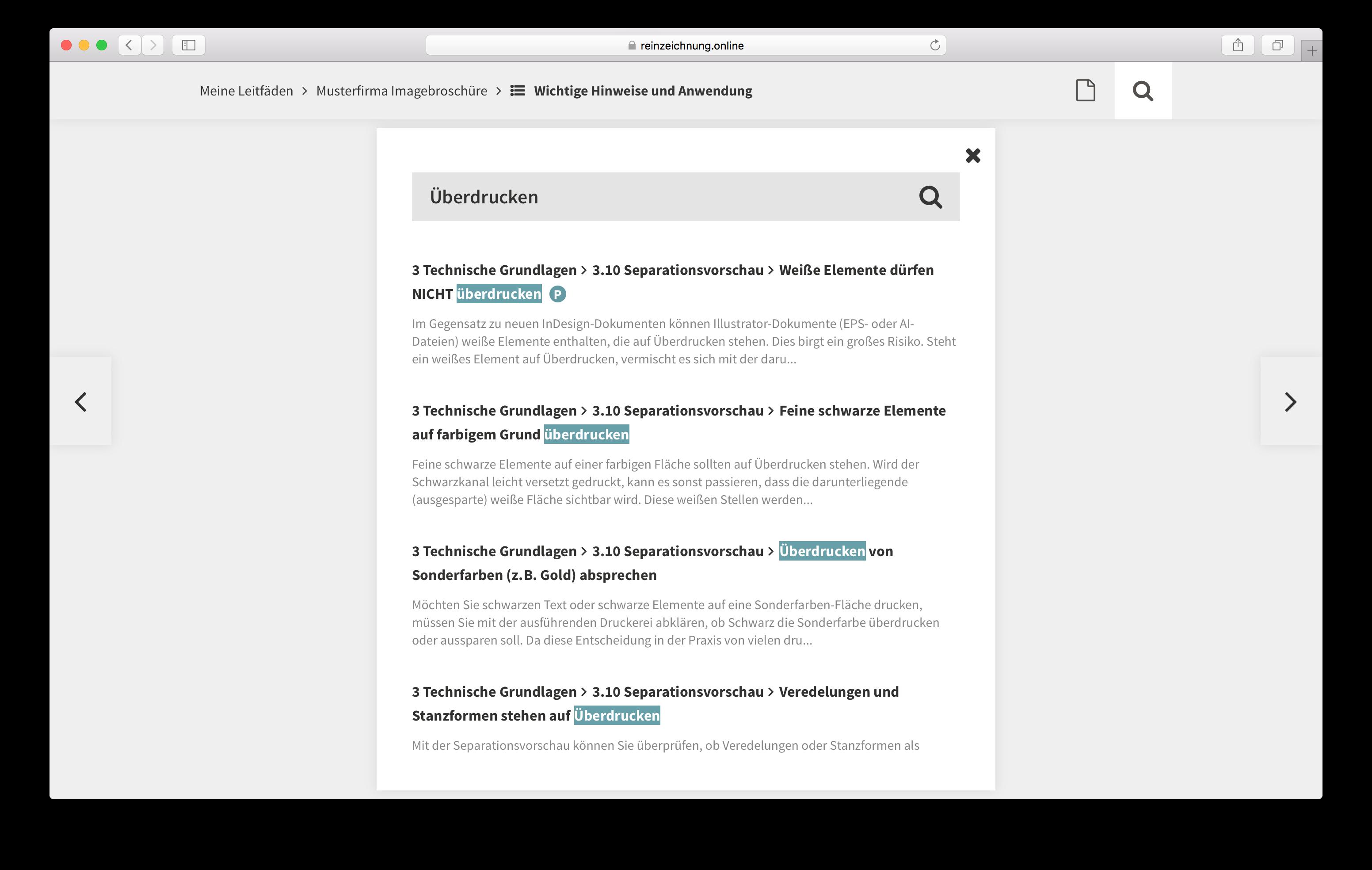 Reinzeichnung-Druckvorstufe InDesign online suchfunktion
